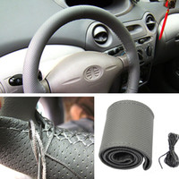 Wholesale New Leather DIY Car Steering Wheel Cover With Needles and Thread Gray