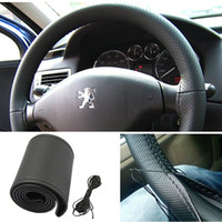 Wholesale New Leather DIY Car Steering Wheel Cover With Needles and Thread Black