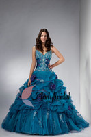 Spaghetti Straps gothic - 2014 Gothic Princess Ball Gown with Beaded Embroidery Spaghetti Strap Organza Novel Style Turquoise Quinceanera Prom Dresses with Flowers