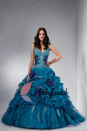 Wholesale 2014 Gothic Princess Ball Gown with Beaded Embroidery Spaghetti Strap Organza Novel Style Turquoise Quinceanera Prom Dresses with Flowers