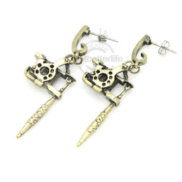 Wholesale 2 Brass Color Retro Mini Tattoo Machine Gun Ear Pendant Earring Collector Supply Tattoo Kit