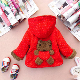 Children's Jackets Suits Boy Girls Winter Plus Thick Velvet Cartoon Bear Coat.