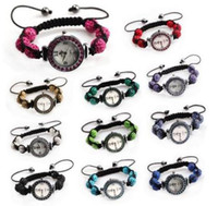 Wholesale Fashion Bling Disco Ball Bracelet Style Pave Crystal Disco Beads Watch Friendship Gift W12088