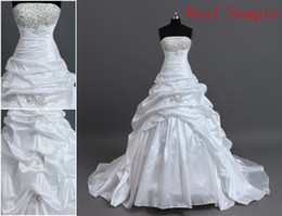 Wholesale Best Sale Cheap Strapless Applique Actual Image Court Taffeta Wedding Dresses Bridal Gowns