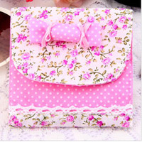 Fabric Convenient , confidential Folding Wolesale Health Cotton Receive Bag Warm Lovely Candy Sanitary Napkin Package Free Shipping 100pcs