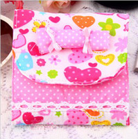 Fabric Convenient , confidential Folding Health Cotton Receive Bag Warm Lovely Candy Sanitary Napkin Package Free Shipping 50pcs