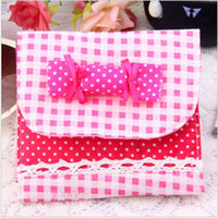 Fabric Convenient , confidential Folding Health Cotton Receive Bag Warm Lovely Candy Sanitary Napkin Package 2419