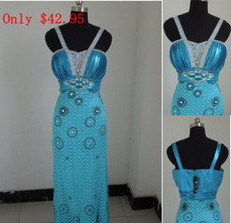 Wholesale In Stock Cheap kinds of color Spaghetti strap rhinestone long length Evening prom Dress