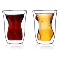 Wholesale Creative Cups Sexy Beautiful Heat resistant Double cup Glass Of Red Wine Crystal Glasses