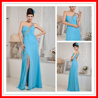 Designer Sexy One- shoulder Open Back Ice Blue Chiffon Split ...
