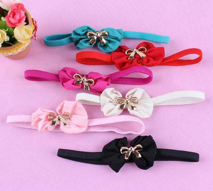Girls Headbands Baby Hairband With Elactic Lace Metal Bowknot Center