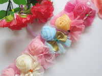 Wholesale Baby Hairpins With Rose Bow Silk Fabrics Hairpins Gauze Element Base Colorful Hair Pins