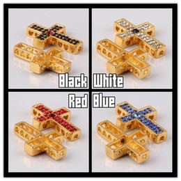 Wholesale Side Ways Metal Crosses - Charm Gold Mixed Color Rhinestone Honesty Side Ways Sideways Cross Connector Beads Jewelry Finding