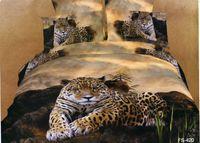 Wholesale Bedding Supplies D coloured Oil painting Animal tiger leopard grain duvet cover set quilt cover flat sheet pillowcases bedding set