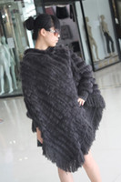 Wholesale Ladys fashion fur cape amice poncho rabbit hand knitting on yarn dark grey