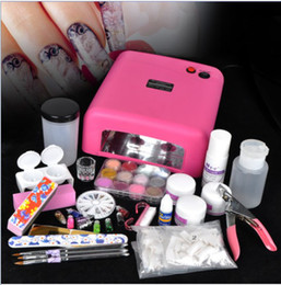 Wholesale Full Pro Acrylic Powder Liquid NAILS ART KIT V Pink Nail UV Lamp