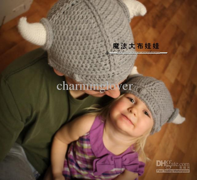 Baby Knitted Viking Hat Viking Knit Cap Baby Hat