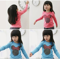 Wholesale New autumn children s clothing bow MICKEY head portrait female child long sleeve T shirt FREE SH