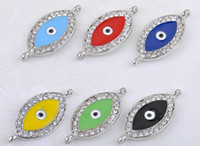 Wholesale Sideways Crystal Rhinestones Evil Eye Connector Charm Beads fit European bracelet mixed color