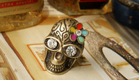 Wholesale Europe USA Wedding supplies Skull diamond studded ring fashion jewelry via fedex