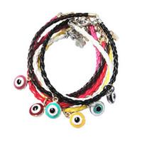 South American bracelets wholesale cheap bangles - hot sale evil eye pedant braided leather chain lucky bracelet cheap jewelry bangle