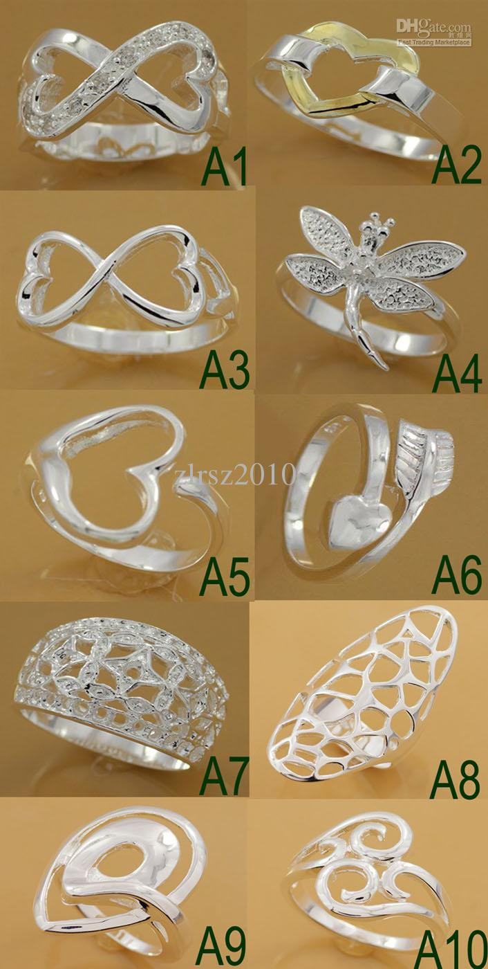 Mixed Fashion 925 Sterling Silver Beautif Rings Bague en argent sterling 925 en