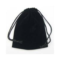 al por mayor bolsas de regalo bolsas-Terciopelo Negro Bolsas de Regalo Joyería bolsas para 100pcs regalo de la joyería B03 Envío Gratis