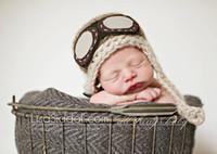 Wholesale children s beanie caps baby Crochet Pilot Hat Newborn Aviator Hat Baby Boy Hat Beanie Newborn Hat Photo Prop cotton