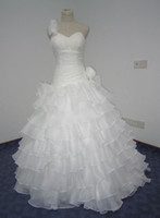 Wholesale 2012 Layers Organza White Applique Beads Ruffles Full Length Wedding Ball Gown Dresses Evening Dress