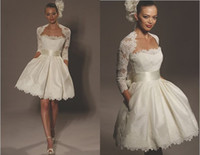 Modern Lace Portrait 2012 New Arrival Short Ball Gown Strapless Bolero Jacket Chic Bridal Wedding Dress With Pockets