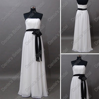 Wholesale 2012 White and Black Bridesmaid Dress Strapless Chiffon Sash Floor Length Actual Real Images DB194