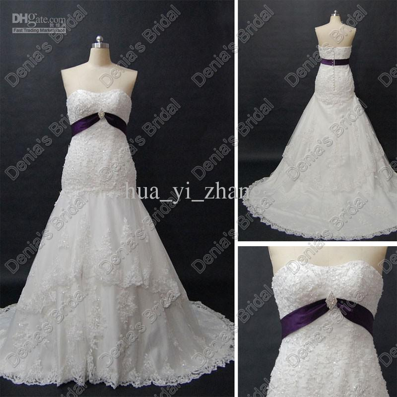 White tulle fishtail mermaid wedding dresses purple belt for Mermaid wedding dresses under 500