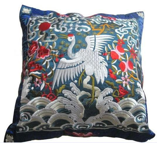 Embroidered animal crane cushion covers for chair sofa