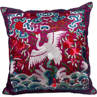 Wholesale Full Embroidered Pillow Cushion Covers Chinese Crane Design piece Free