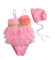 Wholesale Toddler Girls Pink Two Piece Lace Swimwear Hat Swimsuit Swimming Suit Bathing Suit Clothes