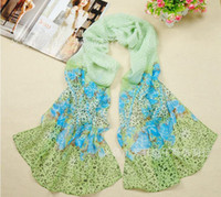 Wholesale New Rural Women Long Silk Scarves Chiffon Lady Scarf Beach Scarves Autumn wear