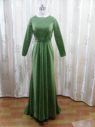 Wholesale Actual Image A Line Bateau Chapel Train Belt Green Cap Sleeves Dresses
