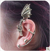 Wholesale Cuff Ear Fashion Jewelry Gothic Punk Personalized Retro Dragon shaped Earrings Stud