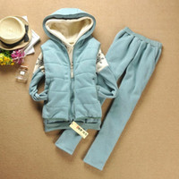 Cheap Women Snowflake Hoodie+Vest+Long Pants Suit Thick Warm Casual Three Color Suit Good for Autumn and W