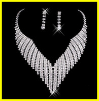 Wholesale New Shinning Silver Diamonds Earrings Necklace Wedding Jewelry Set Bridal Accessories