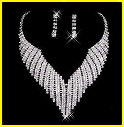Wholesale Cheap New Shinning Silver Diamonds Earrings Necklace Party Formal Wedding Jewelry Set Bridal Accessories