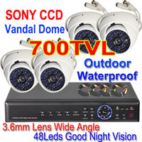 Wholesale 4CH NETWORK DVR TV SONY CCD OUTDOOR CCTV DOME CAMERA SYSTEM MOBILE PHONE