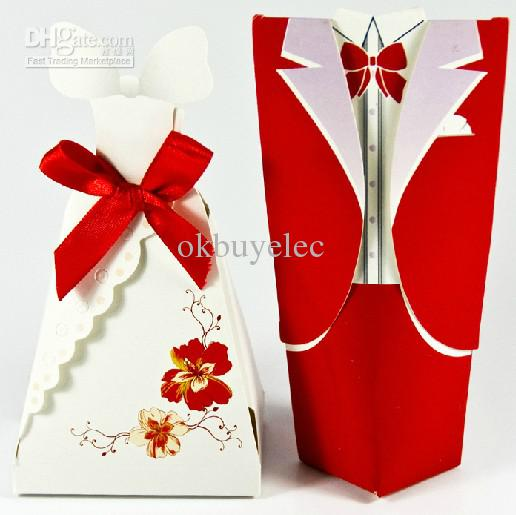 Red And White Tuxedo Gown Wedding Favor Boxes Bridal Party Shower ...