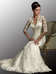 Wholesale 2012 Cheap New Sexy Designered V Neck Long Sleeves Mermaid Lace Stunning Wedding Dresses AB8900