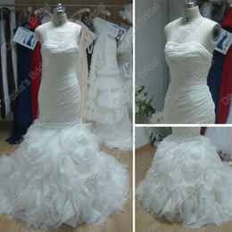 2017 Fishtail Mermaid Wedding Dress Strapless Sweetheart Neckline Rosette Tulle Actual Real Images Gemma Bridal Gowns