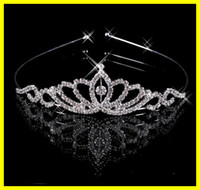 Wholesale Charming Diamond Rhinestone Hair Band Wedding Crown Tiara Bridal Prom Jewelry Set