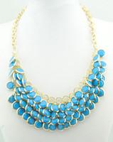 Wholesale 2012 Fashion Women Bubble Bib Statement Party Necklace Colorful Gold plated Neckalace