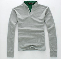 Men Cotton Polo 2013 New Autumn fashion Men's long-sleeved T-shirt men stand-up collar clothes white black green