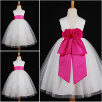 Wholesale Suzhou Cheap flower ribbon waist ball gown little queen flower girls dresses latest children dress