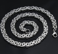 Wholesale 73g Cool Men s Silver L Stainless Steel mm Men Byzantine Chain Necklace Good Gift
